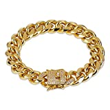 JINAO 12mm 18k Gold Plated Cuban Chain Bracelet with 1ct Lab Diamond Clasp Hip Hop Bracelet (Gold 7'')