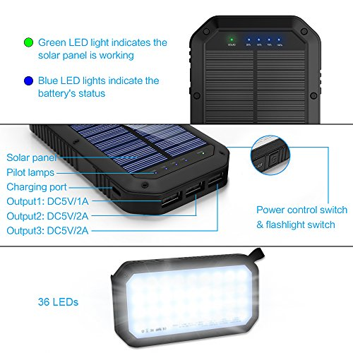 51NCGIzPmmL - Solar Charger, 25000mAh Battery Solar Power Bank Portable Panel Charger with 36 LEDs and 3 USB Output Ports External Backup Battery for Camping Outdoor for iOS Android