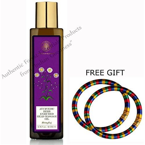 Forest Essentials Ayurvedic Bhring Raj Herb Enriched Head Massage Oil - 200 ML - With FREE GIFT (Pair of Multicolor Bangles) ()