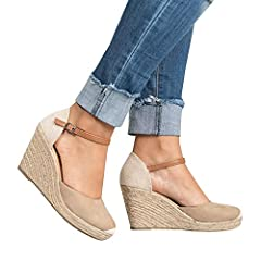 97074dd7a04 Enjoybuy Womens Wedge Heels Espadrille Sandals Ankle Strap Summer ...
