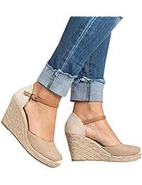 Womens Wedge Sandals Ankle Strap Cap Toe Espadrille Wedge Sandal