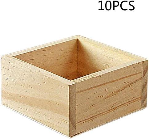 Kentop 10stk – Caja de almacenaje (Madera Caja – Caja de almacenaje Universal Caja de Madera sin Tapa para Guardar 9,5 x 9,5 x 5 cm: Amazon.es: Hogar
