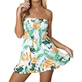 New Women's Off Shoulder Flower Printed Sleeveless Stretch Tube Shorts Bodysuit Rompers (Green,L)