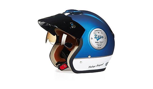 ... Cascos de verano, Protección Motocicleta Halley Cruise Locomotora vintage Prince Promedio de código Casco (Color : Azul, Tamaño : L): Amazon.es: Hogar