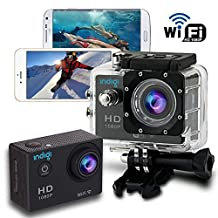 Indigi® Sports DV Action Cam HD 1080p Waterproof Case WiFi Version iSmart DV App Available to Download Free From Appstore & Google Play Store
