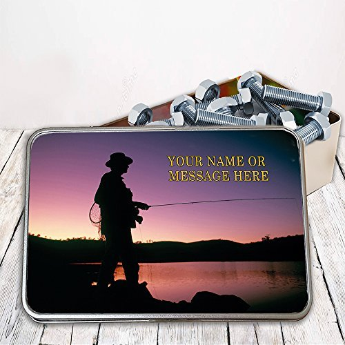 Personalised Fly Fishing Silhouette Sh096 Storage Tin smoking tobacco box Money Gift by Krafty Gifts (Tin Silhouettes)