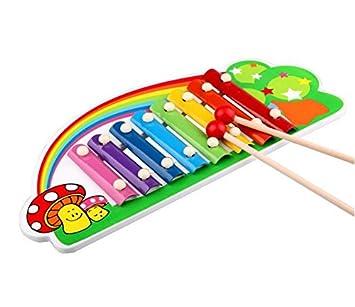 SunnyGod Instrumentos Musicales para bebés Xilófono de Madera del Golpe de la Mano del Piano de Madera para los niños de los niños (Arco Iris): Amazon.es: ...