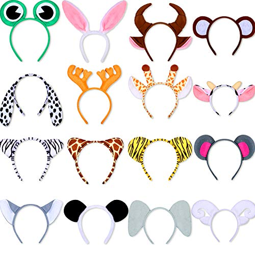 16 Piece Animal Jungle Safari Headbands Zoo Cartoon Plush Animal Ear Hairbands Costume Set Animal Hair Hoop for Kid Halloween Christmas Animal Cosplay Birthday Theme Party Supply Stage Performance