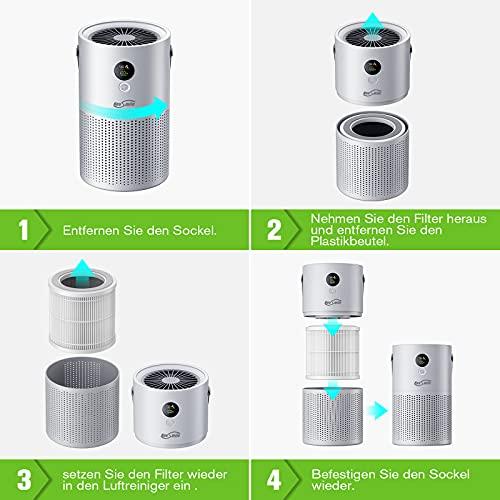 Housmile Desktop Luftreiniger,Luftreiniger mit HEPA-Filter, 3 Geschwindigkeit Desktop-Luftreiniger, tragbare Luftreiniger, reinigen Staub, Rauch Geruch, Pollen, Tierhaare, Pollen Hitze, Kochen Geruch