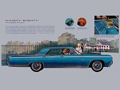 Oldsmobile Ninety Eight (1963) Illustrated Car Brochure Print on 10 Mil Archival Satin Paper Blue Side Static View 18