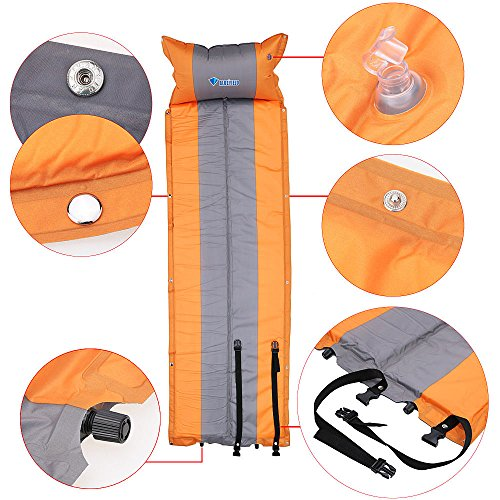 Orange Color BlueField Outdoor Mat Automatic Inflatable Camping Mat Pad Mattress Self-Inflating Moistureproof Tent Folding Mat with Pillow by LKForward_Sports Fitness and Outdoor