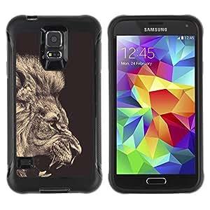 LASTONE PHONE CASE / Suave Silicona Caso Carcasa de Caucho Funda para Samsung Galaxy S5 SM-G900 / lion sepia black white roar king fur