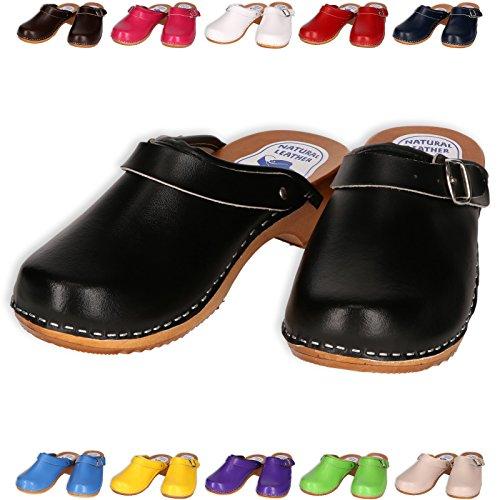Holzschuhe Clogs Pantoletten Holzclogs Sandalette Orthopädisch Leder Holz Schuhe Gr. 36-41 NEU Blau