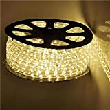 Qulaten LED Rope Lights 120V Waterproof Connectable Led Strip Lights for Indoor Outdoor Rope Lights Waterproof Decorative Lighting Backyards Garden and Party Decoration (150ft/45m, Warm White)