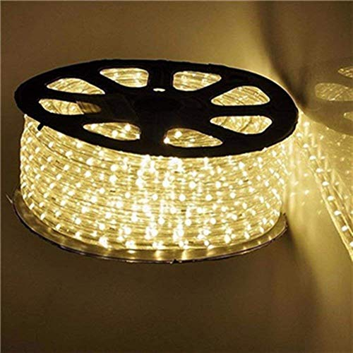(Qulaten LED Rope Lights 120V Waterproof Connectable Led Strip Lights for Indoor Outdoor Rope Lights Waterproof Decorative Lighting Backyards Garden and Party Decoration (150ft/45m, Warm White) )