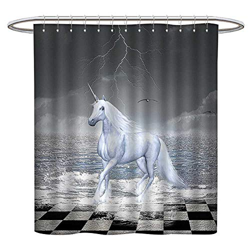 Jiahonghome Modern Stylish Bathroom Shower Curtain and Kids Digital Surreal Sea on Chessboard with Horse Pegasus Myth Print Odorless Eco-Friendly W 55 x L 72 ()