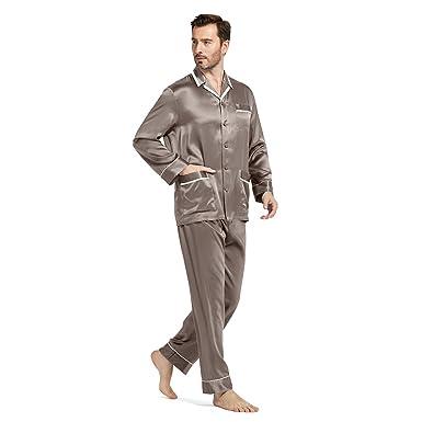 f22d9cf64074fa LILYSILK Seide Pyjama Herren Modische Nachtwäsche Langarm-Schlafanzug mit  Hosen aus 100% Maulbeerseide von