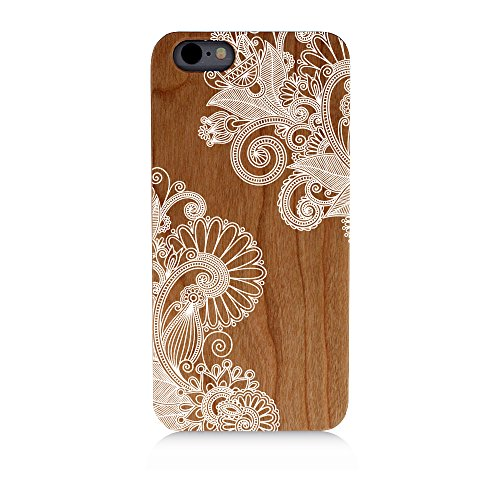 Mandala Corner Flowers Detailed Floral Uv Print Cherry Wood Natural Wooden Case iPhone - Detailed Usps Tracking
