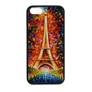 Custom Colorful Paris Eiffel Tower Personalized Rubber Cover Case for iphone5, iphone5s(Laser Technology)