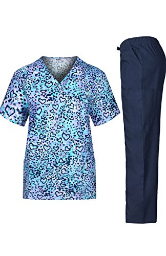 MedPro Women's Medical Scrub Set Printed Wrap Top and Cargo Pants  Animal S (Halloween Scrubs)