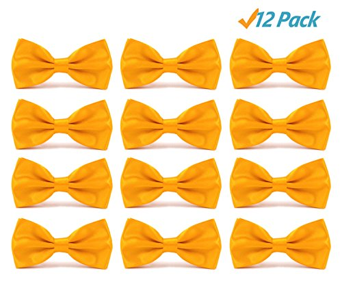 12pcs Men's Pre-tied Adjustable Formal Bow Tie Tuxedo Solid Bowtie by Avant Men (12 pack-Golden yellow)