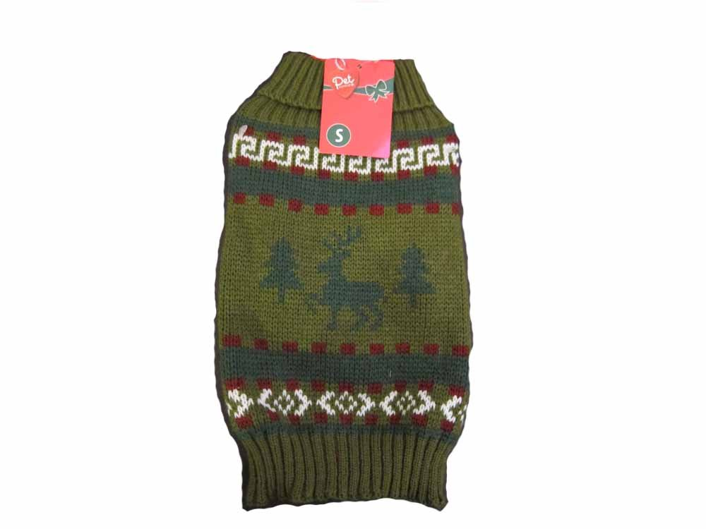 Olive XS Chest 12.2-15\ Olive XS Chest 12.2-15\ Pet Central Moose Sweater (XS Chest 12.2-15  Back Length 8  Neckline 7.5-9.4 , Olive)