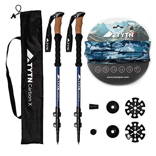 TYTN Carbon X Trekking Poles - Ultralight Carbon Fibre Quick Lock, Nordic Style for Hiking, Trekking & Outdoor Pursuits