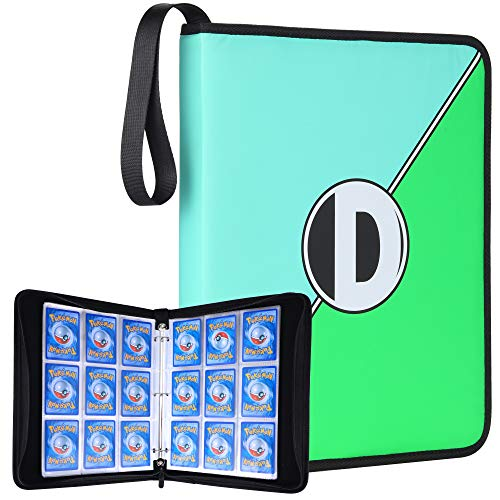 (DRZERUI Carrying Case Compatible with Pokemon Trading Cards, Cards Collectors Album with 30 Premium 9-Pocket Pages, Holds Up to 540 Cards(Blue and Green Style))