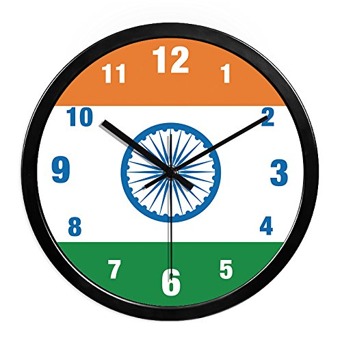 Jedfild The creative personality flag mute wall clock quartz clock clock Wall Clock, 14 inch (35.5 cm) diameter ,H316 India black gold black-box
