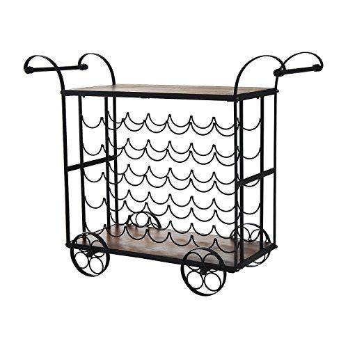 NEW Black/Wood Antique Kitchen Serving Cart Wine Rack Rolling Drink Holder Wood Metal 35 Bottle (Cart Serving Iron Wrought Patio)