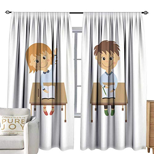 (WinfreyDecor Simple Curtain Vector Flat Girl boy Sitting at Desk Raising Hand Blackout 96W x 96L Inch)