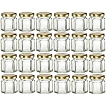 Mini Hexagon Glass Jars, 1.5 oz for Essential Oils, Jams, Spice Racks, Honey, Wedding Favors and Gifts (24)