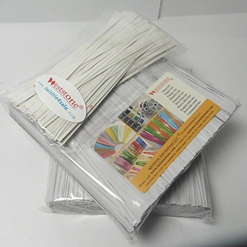 """Weststone TWISTPWT-2000 4"""" Paper Twist Ties, White, 2000 Piece"""