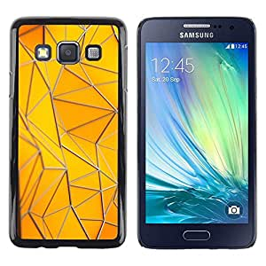 FECELL CITY // Duro Aluminio Pegatina PC Caso decorativo Funda Carcasa de Protección para Samsung Galaxy A3 SM-A300 // Polygon Building Gold Yellow Pattern