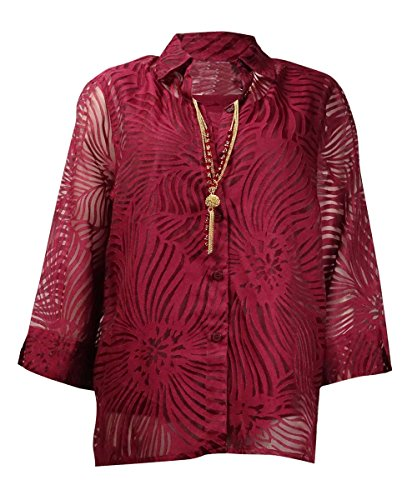 - Alfred Dunner Womens 2Fer 3/4 Sleeves Casual Top Red 8