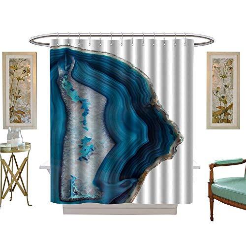 - luvoluxhome Shower Curtains Digital Printing Blue Agate Slice Fabric Bathroom Set with Hooks W69 x L84