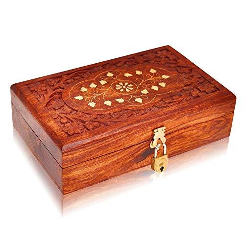 The Great Indian Bazaar Handmade Decorative Wooden Jewelry Box With Free Lock & Key Jewelry Organizer Keepsake Box Treasure Chest Trinket Holder Lock Box Watch Box 8 x 5 Inch Anniversary Gifts