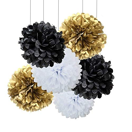 18pcs Black and White Gold Craft Tissue Paper Pom Poms Kit Hanging Decorations Ceiling Hangs Wall Decor Tissue Paper Flowers Balls Wedding Party Favors Baby Shower Decorations