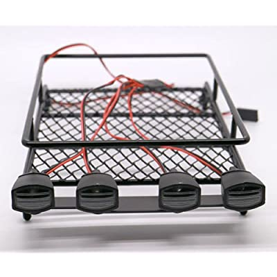 WishRing RC 1:10 Roof Luggage Rack LED Light Bar Wrangler Tamiya CC01 SCX10 Axial 512B: Toys & Games