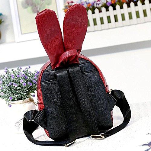 Everpert Backpacks Rabbit Glasses gold Mini Girls Glitter Red Bags Ear Women Casual ZUqEZrw
