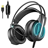 BENGOO GH1 Gaming Headset for PC, PS4 Gaming Console, USB 7.1 Surround Sound Gaming Headphones with Noise Canceling Mic, 4D Intelligent Vibration, Strong Bass, LED Light for Laptop Mac Games