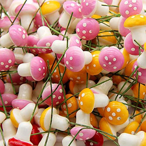 (CJESLNA 60 Pcs Miniature Fairy Garden Colorful Mushroom)