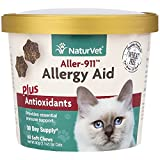 NaturVet Aller-911 Allergy Aid Plus Antioxidants for Cats, 60 ct Soft Chews, Made in USA