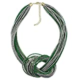 BOCAR Seed Beads Multilayer Chunky Bib Statement Knot Necklace (NK-10316-olive+silver tone)