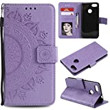 Floral Wallet Case for Huawei P Smart,Strap Flip Case for Huawei P Smart,Leecase Embossed Totem Flower Design Pu Leather Bookstyle Stand Flip Case for Huawei P Smart-Purple
