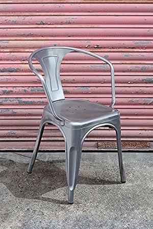 4 x Tolix estilo francesa antigua Cafe sillones en plomo o ...