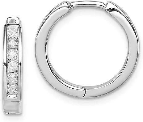 Diamond Fascination Black and White Diamond Round Hinged Hoop Earrings 15mm x 4mm Mia Diamonds 14k White Gold 0.01cttw