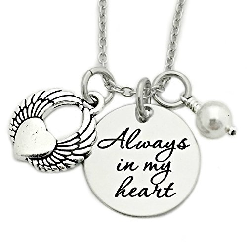 Always In My Heart Winged Heart Memorial Necklace - Engraved Jewelry