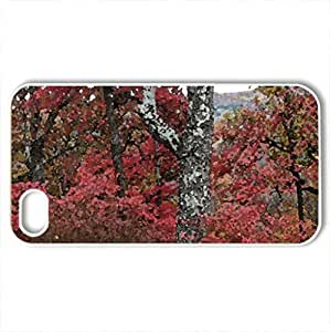 Autumn on Buzzard Roost - Case Cover for iPhone 4 and 4s (Forests Series, Watercolor style, White)