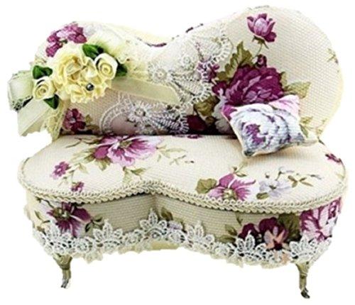 【Shikyou】 Floral Design Sofa Style Jewelry Display Storage Box Case Organizer Interior (Purple)
